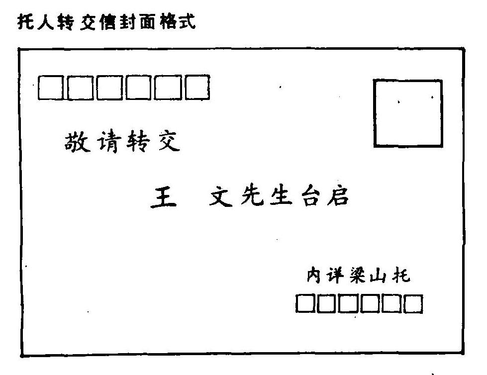 转交信封面格式(横信)怎么写